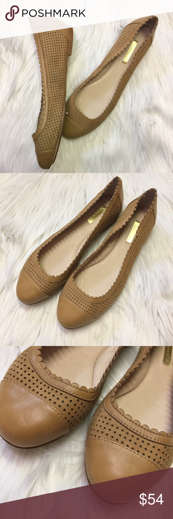 e7bd1598566 Louise er Cie Eilley Perforated Ballet Flats Beautiful soft pigskin leather  laser cut flats in a lovely tan color. Scalloped edge