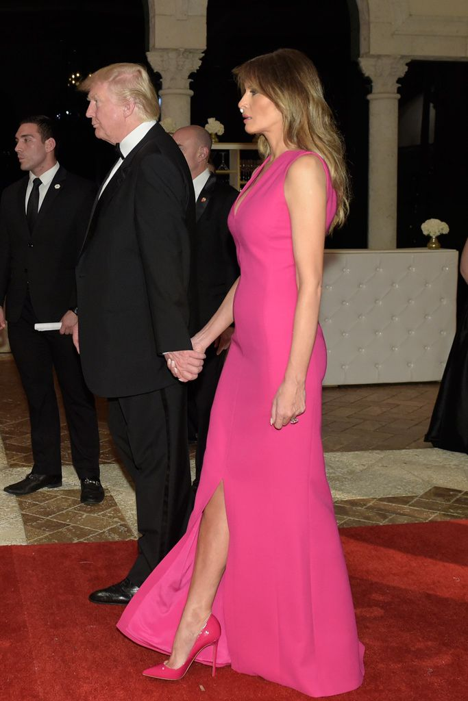 40267f834237 Melania Trump wearing hot pink patent-leather pumps at the Red Cross Gala  at Donald Trump s Mar-a-Lago resort in Palm Beach