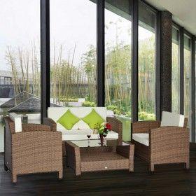 Muebles De Ratan Jardin Set 14 Piezas Rattan Sofa Mesa