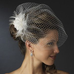 Birdcage Veil w/Feather Flower Fascinator Clip or Comb (White, Ivory or Black)