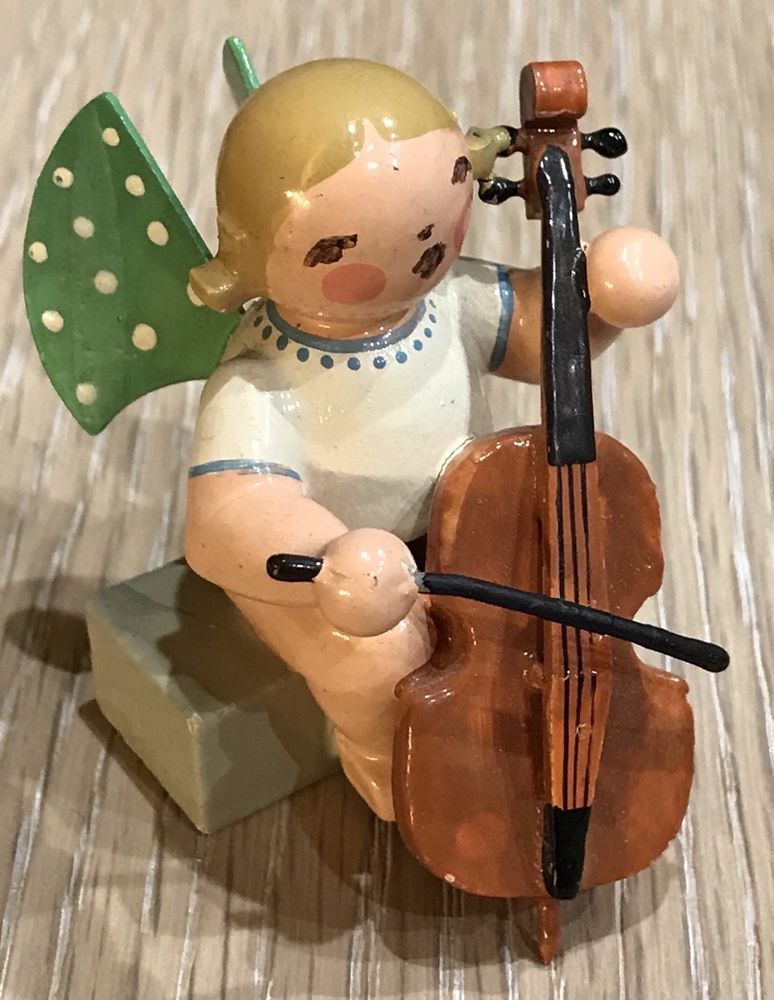Vintage Wendt Kuhn Sitting Orchestra Angel With Cello Erzgebirge