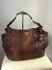 b8ce477200f1 Prada Cacao Antik Cervo Deerskin Leather Hobo Shoulder Bag Originally   2