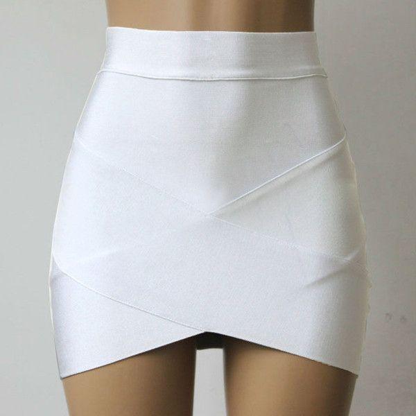 Stretch Mini Skirt White