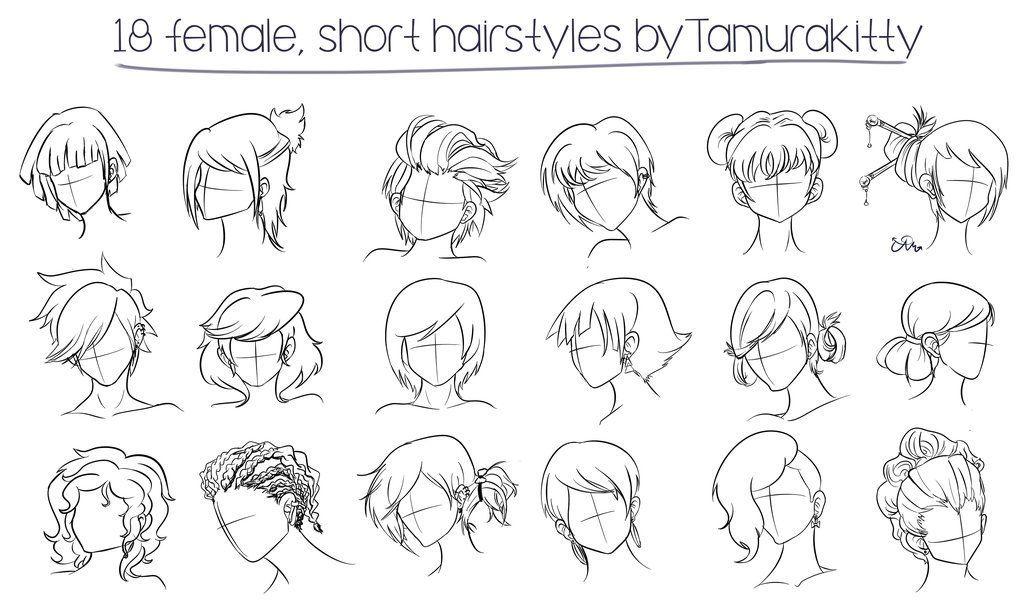 18 Female Short Hairstyles By Tamurakitty On Deviantart Manga Hair Female Anime Hairstyles Girl Hair Drawing