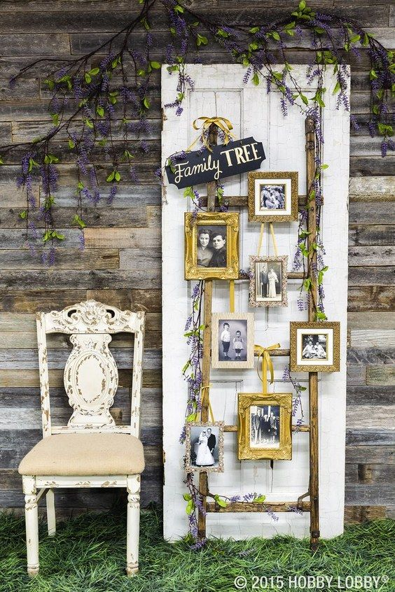 Creatively display family photos at your wedding with a one of a kind