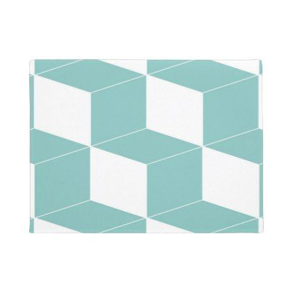 Abstract geometric pattern - blue and white  doormat