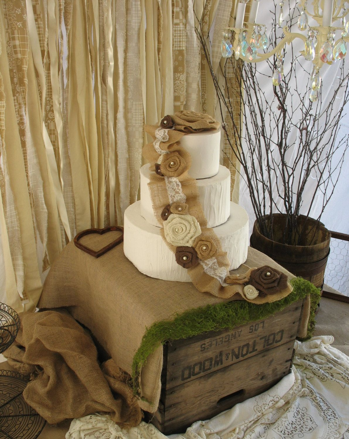 Burlap Cake Topper Rustic Wedding Cake By
