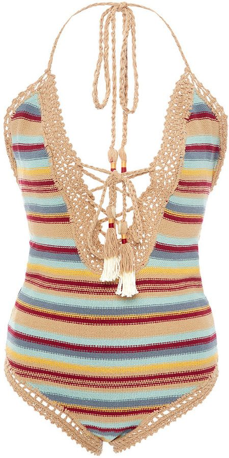 9cd41ecd4b She Made Me Dhari Cotton Striped One Piece Swimsuit | Shop - New ...