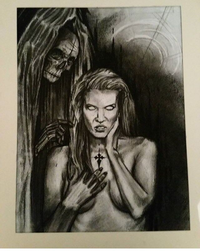 Don't fear the reaper charcoal drawing by John Kayser  https://www.instagram.com/johnkayserart/