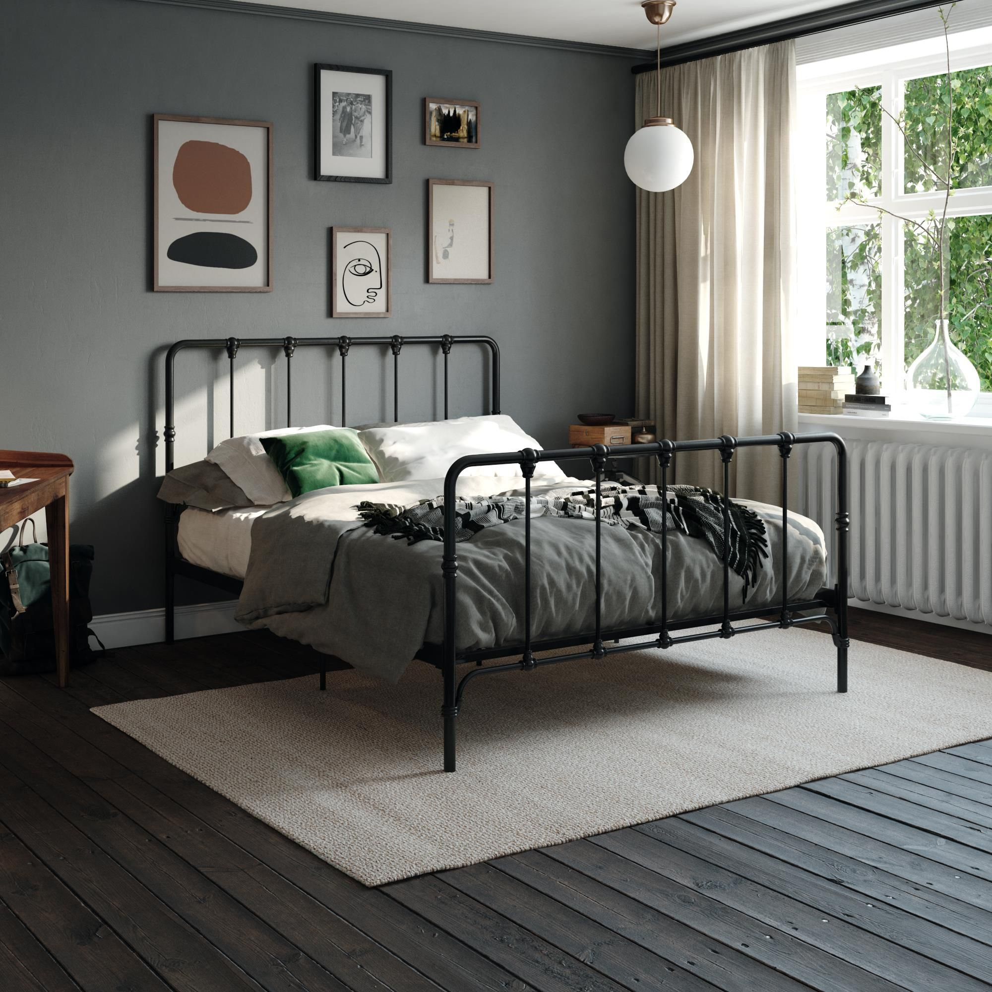 """GranRest 14"""" Steel Slat Bed Frame with Faux Leather Head"""