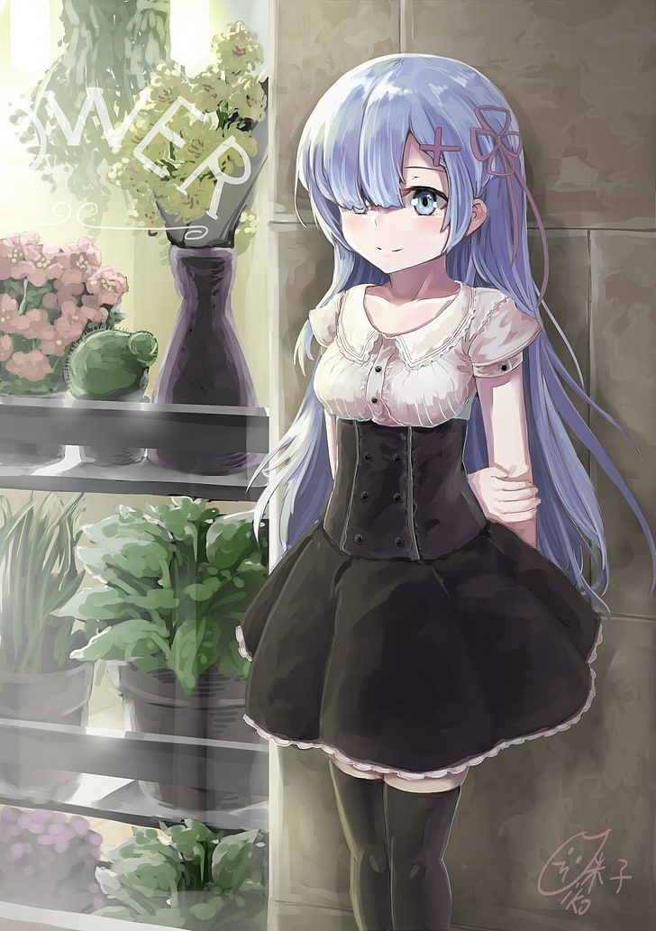 HD wallpaper: animated girl with purple hair, anime, anime girls, Re:Zero Kara Hajimeru Isekai Seikatsu