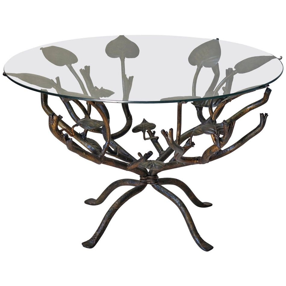 Wrought Iron Coffee Table Rod And Glass Roun