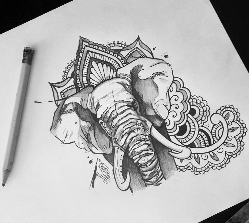 Elephant Mandala Tattoo Tattoos T Tatuajes Elefantes Y: Up For Grabs. #elephanttattoo #elephant #iblackwork