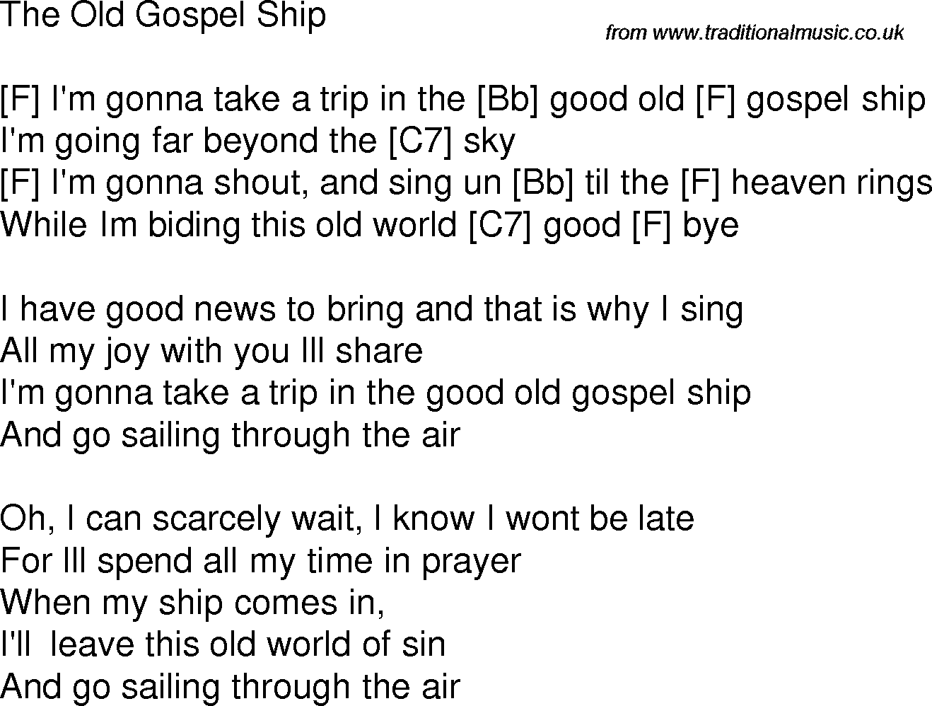 Old time song lyrics with chords for The Old Gospel Ship F | ukelele ...
