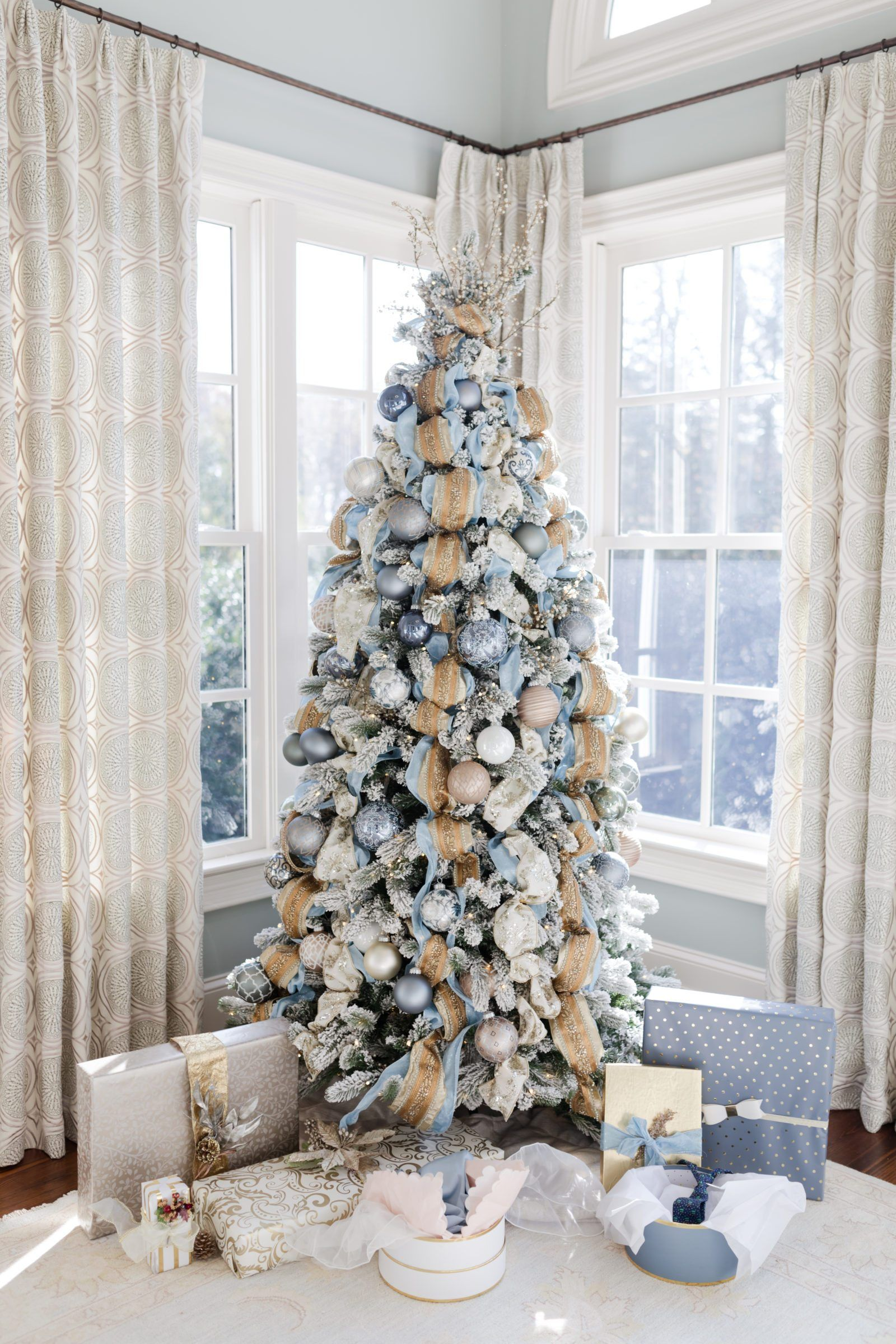 Gold And Blue Christmas Tree Holiday Inspiration For Decorating For