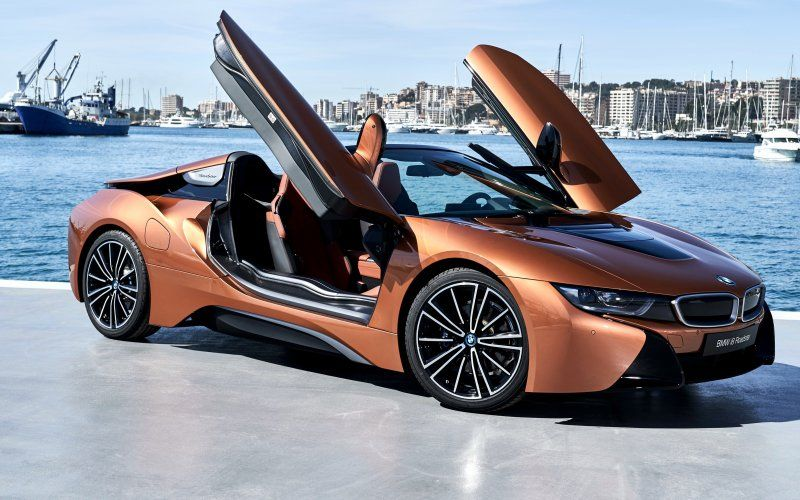 Wallpaper Orange Doors Open Sports Car Bmw I8 Cars Wallpapers