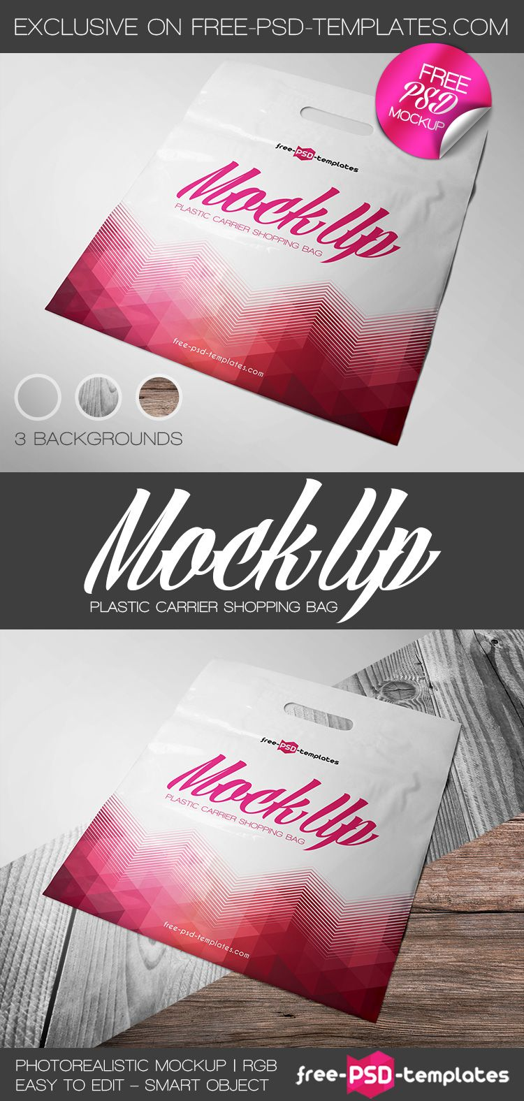 Download Free Plastic Carrier Shopping Bag Mock Up In Psd