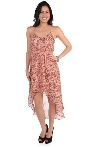 00f7317d180 coral cheetah print high low dress