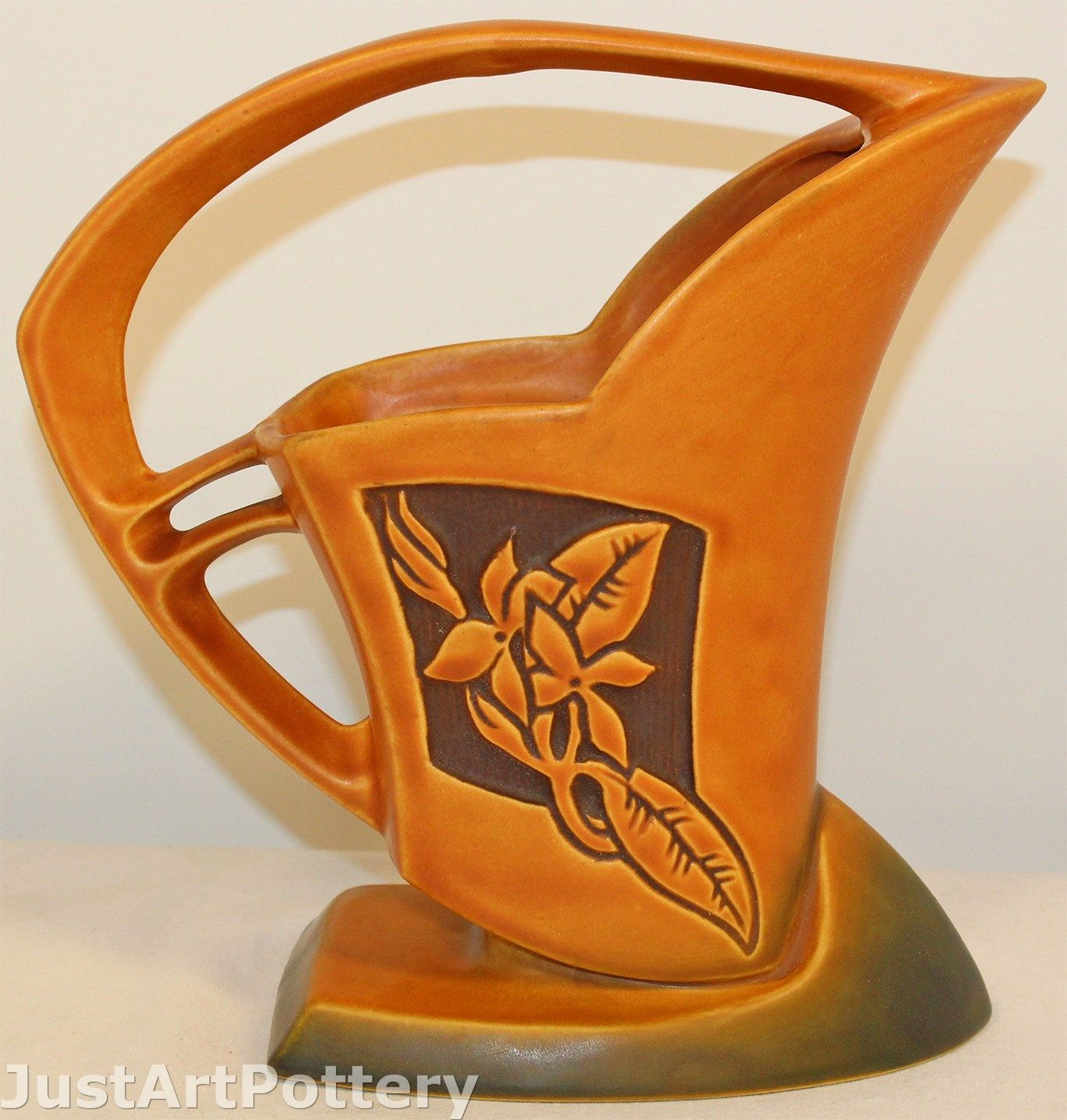Roseville Pottery Silhouette Russet Basket 709-8 from Just Art Pottery