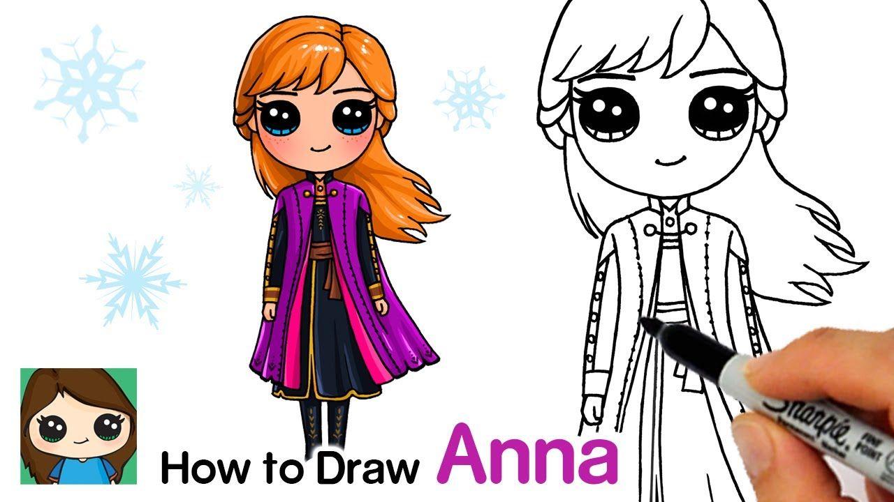 How To Draw Anna Disney Frozen 2 Cute Disney Drawings Cute Kawaii Drawings Disney Princess Drawings