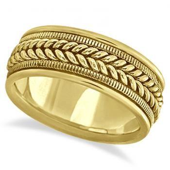 Woven Milgrain Edge Wedding Ring For Men 14k Yellow Gold 8mm In 2020 Rings For Men Mens Wedding Rings Sterling Silver Toe Rings