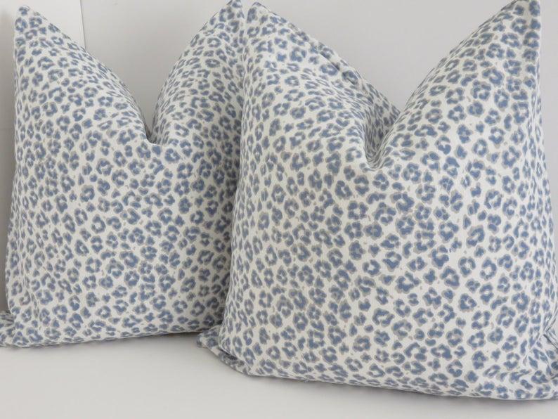 28 For 18x18 35 For 20x20 Leopard Pillows Light Blue Pillows Printed Pillow