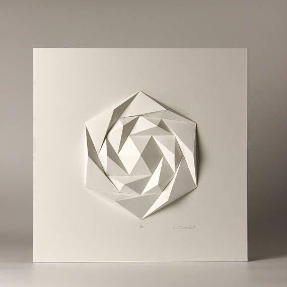 Wall Hanging Lesson Plan: Icosa3M3 White Wall Art Folded Paper Crystal Mosaic Relief