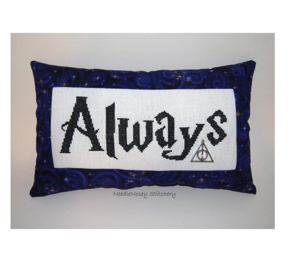 Harry Potter Cross Stitch Pillow Purple Pillow by NeedleNosey, $25.00