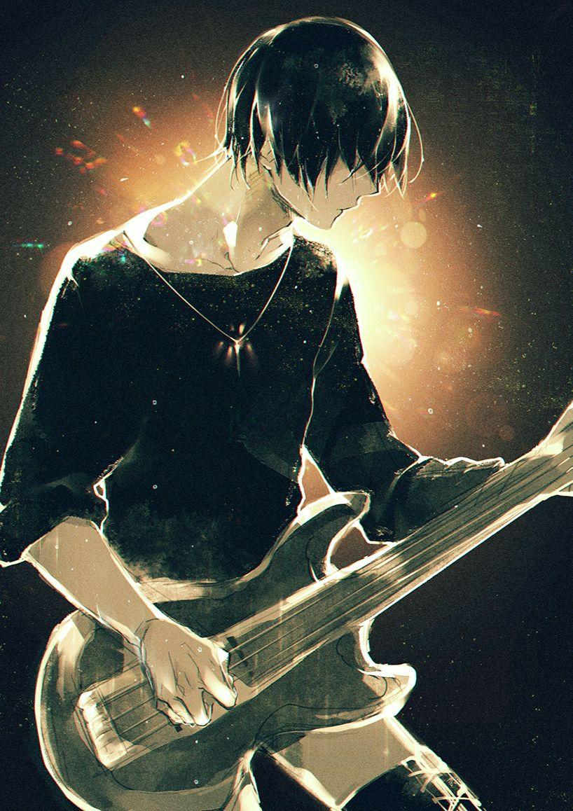 Аниме пацан с гитарой