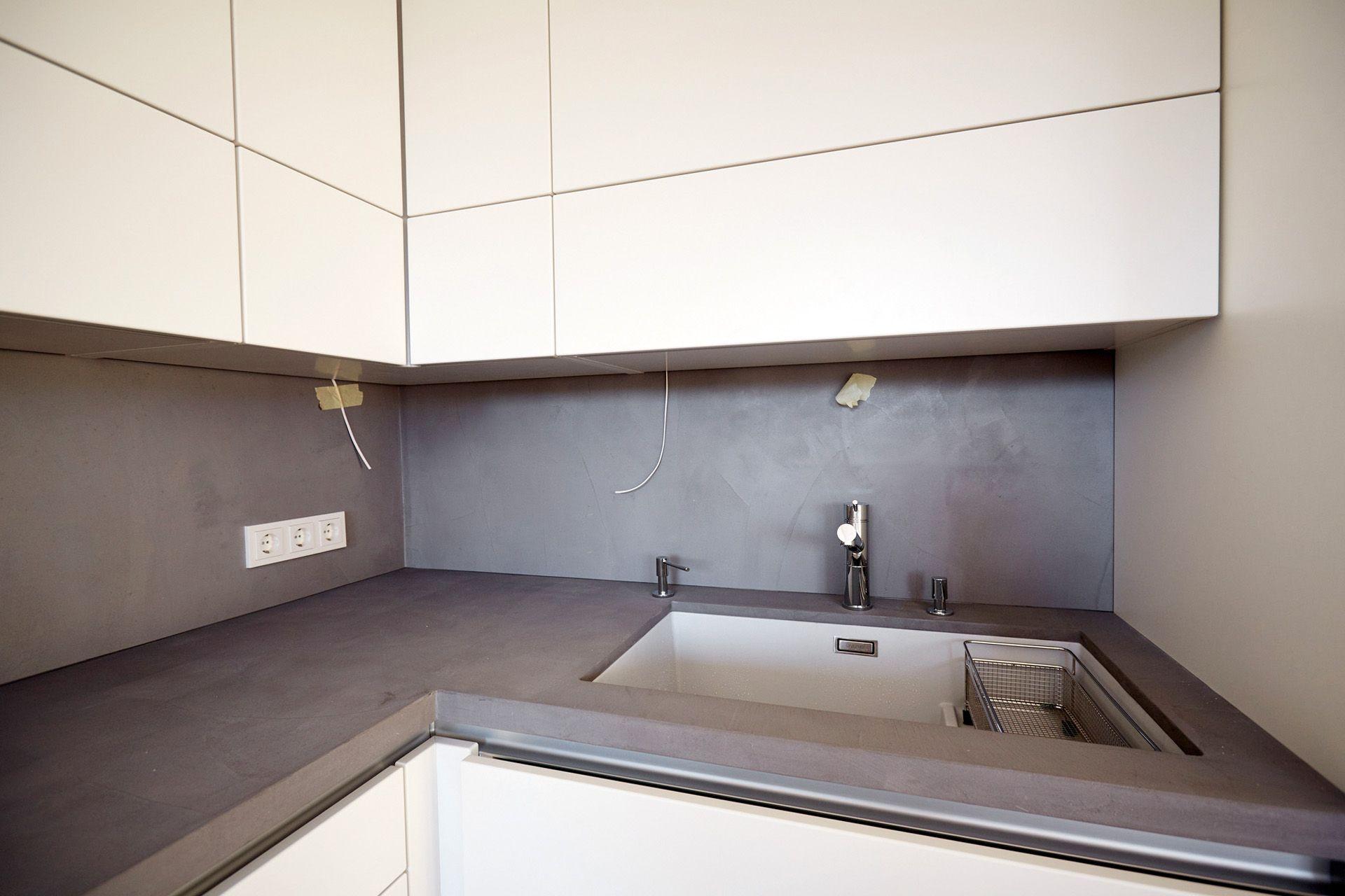 Beton Küchenarbeitsplatte küchenarbeitsplatte und spritzschutz béton ciré original farbe 63