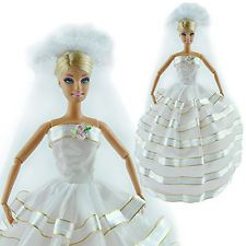 Handmade Wedding Evening Party Flower Dress Clothes Gown Veil For Barbie Dolls