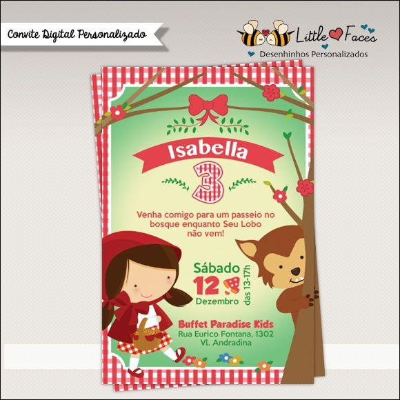 Convite Chapeuzinho Vermelho Digital Little Red Red Riding Hood