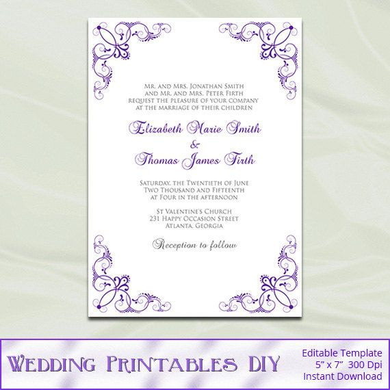 Purple Wedding Invitations Template Diy by WeddingPrintablesDiy - microsoft word templates invitations