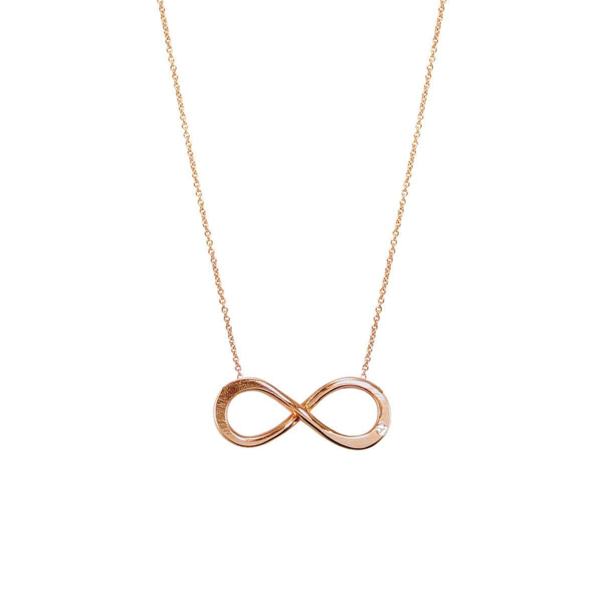 14k large diamond infinity necklace