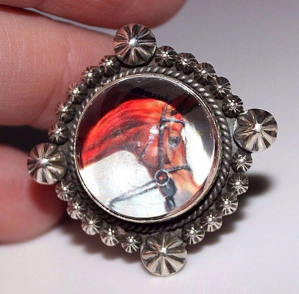 Southwestern DAN DODSON Sterling Silver Domed Glass HORSE Ring Adjustable