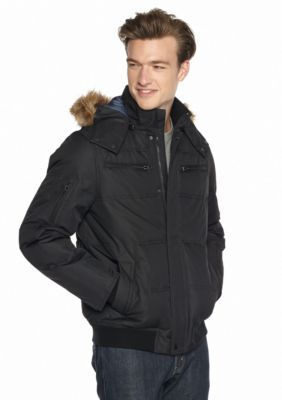 Buffalo David Bitton  Big  Tall  Dobby Tech Bomber Jacket With Faux Fur Hood