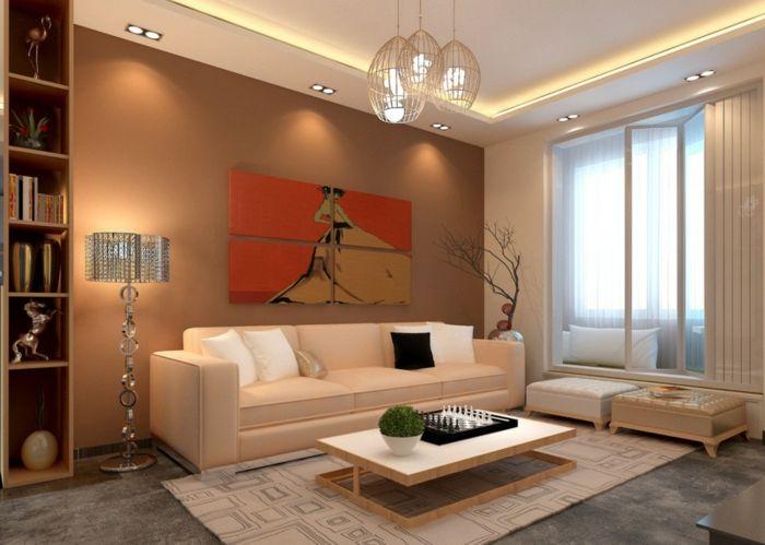 Wohnzimmer Einrichten Beispiele Braune Akzentwand Stehlampe Hängelampen