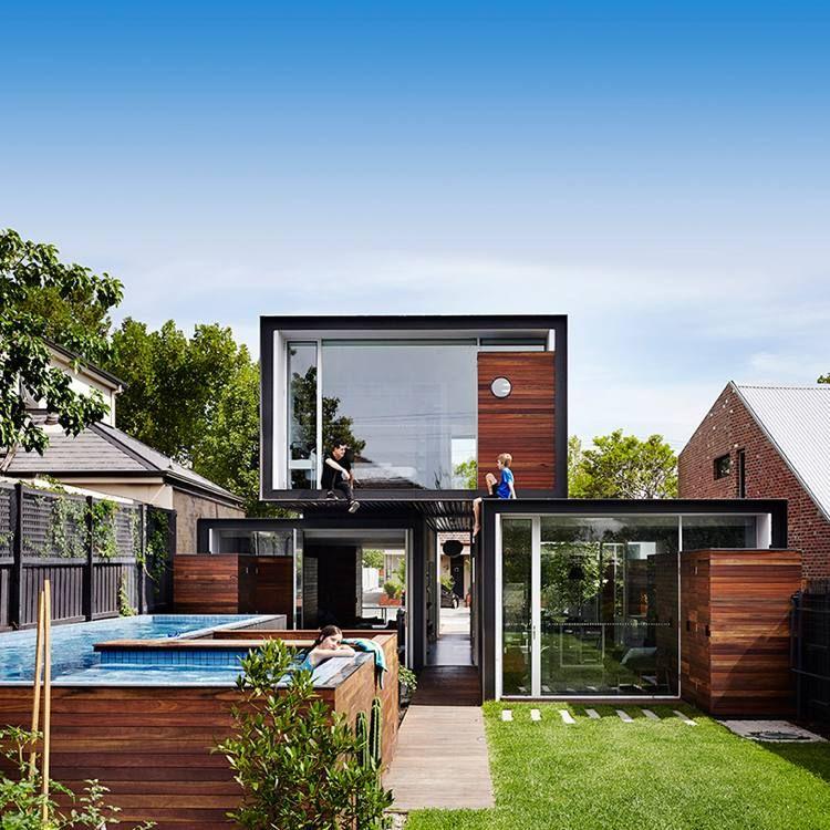 Maison conteneur de design moderne, piscine hors sol et ...