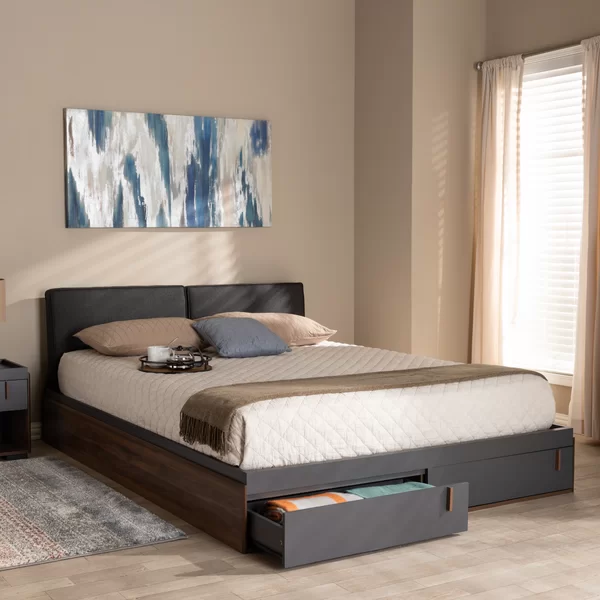 Aspatria Queen Upholstered Storage, Queen Platform Bed With Storage And Upholstered Headboard