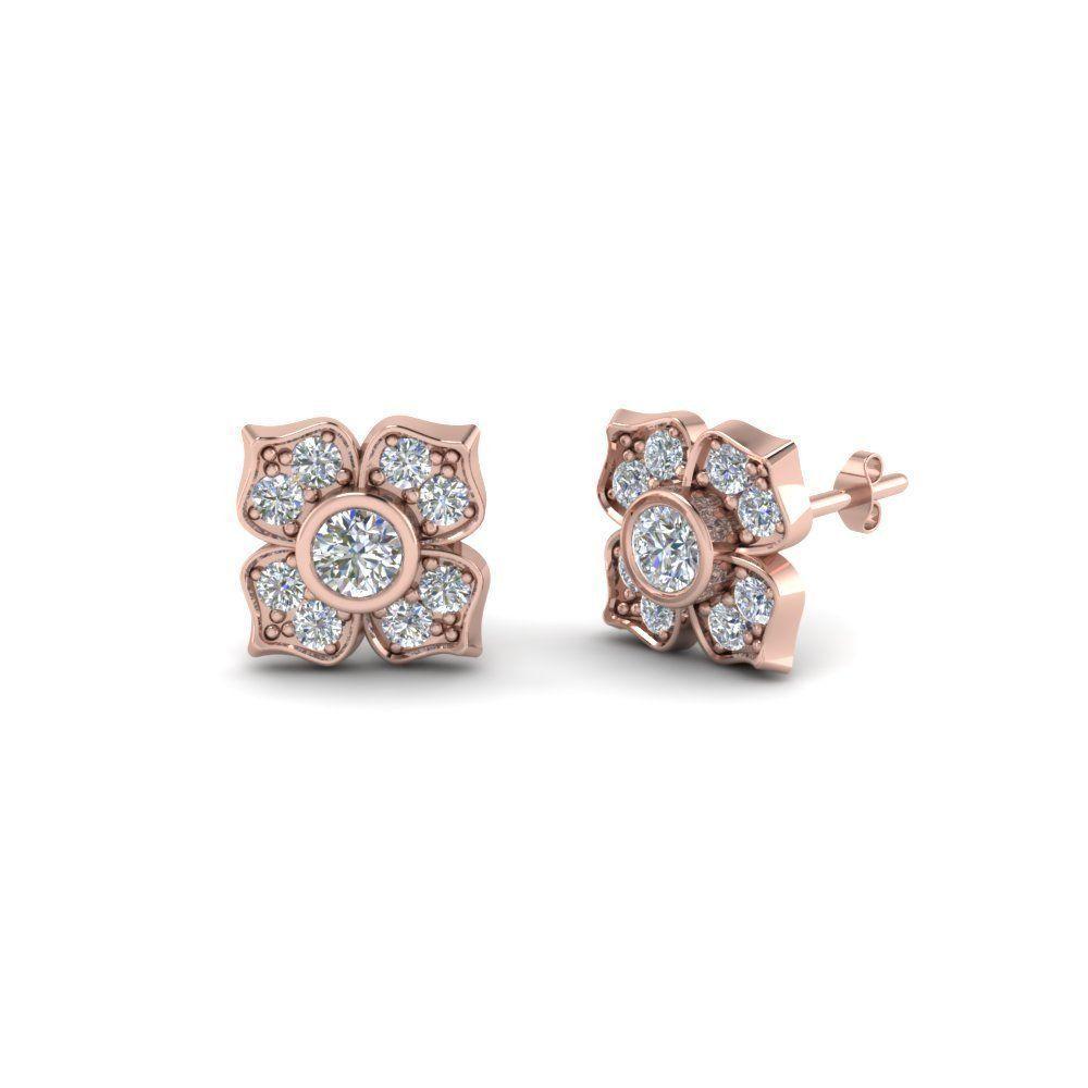 Flower Diamond Stud Earring Clip Onearringsideas