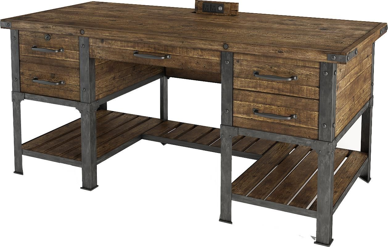 Artisan Revival Executive Desk with Power Well by Turnkey