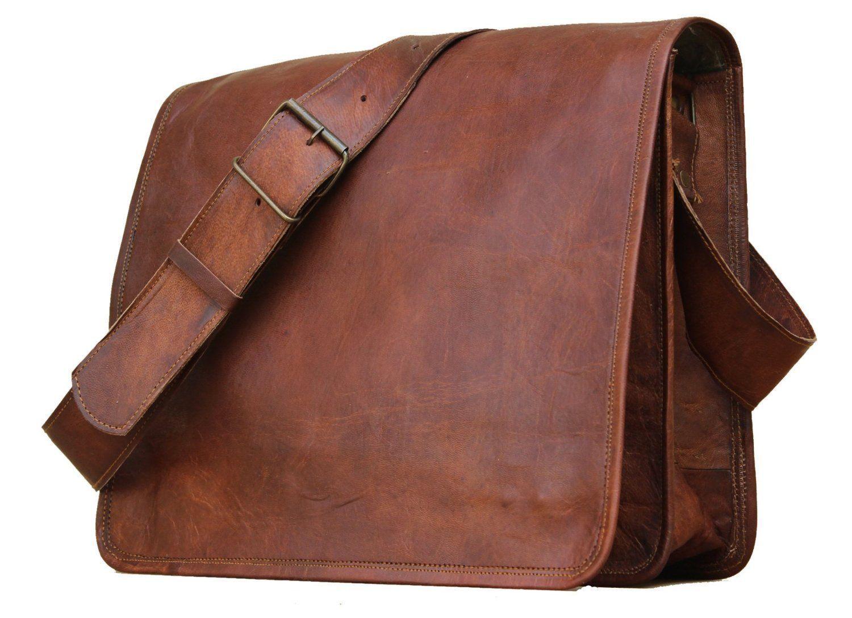 78fcc0e4cb New Men s Vintage Brown Leather Full Flap Messenger Laptop Satchel Shoulder  Bag - Backpacks
