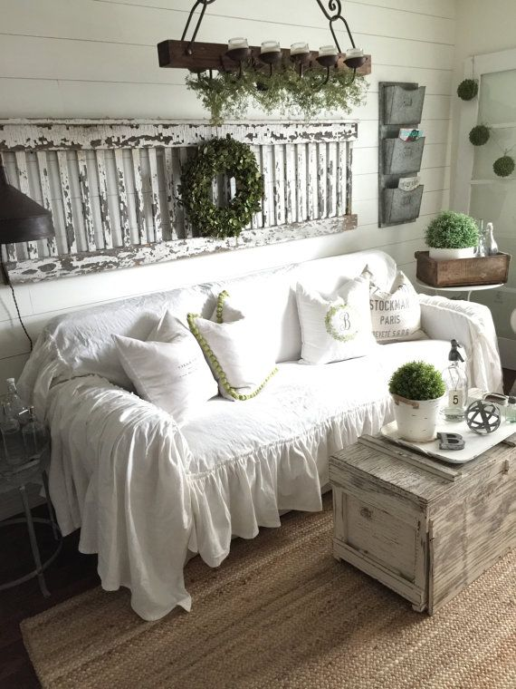 linen sofa slipcover half circle sectional sofas ruffled cover scarf slip throw recover couch farmhouse decor cottage chic