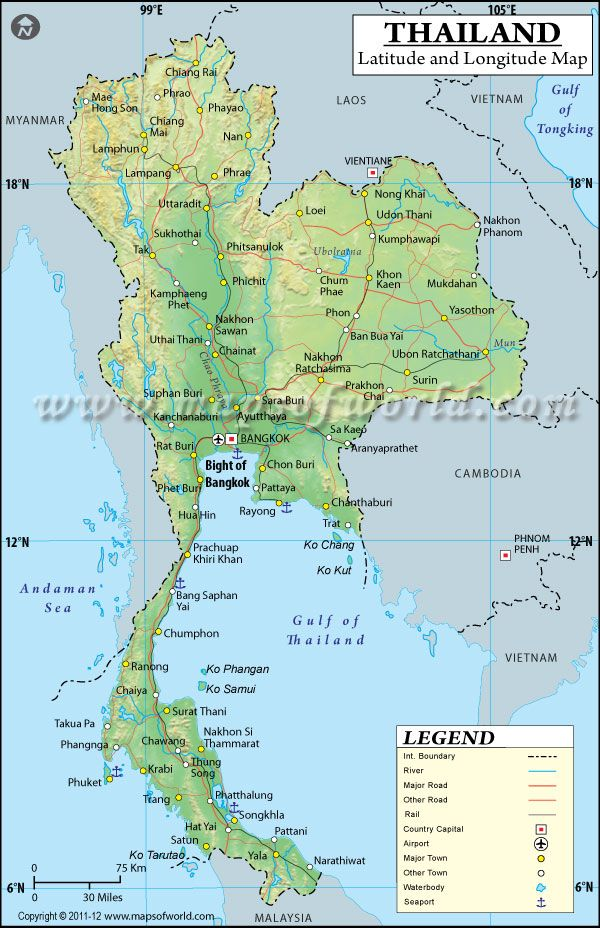 Below Is The Map Of Thailand Showing Major Towns Roads Airports