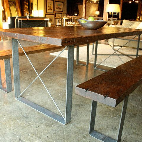 handmade reclaimed wood dining table and bench set by robrray