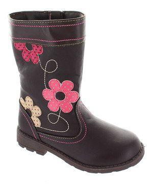 Brown Floral Boot by Laura Ashley #zulily #zulilyfinds