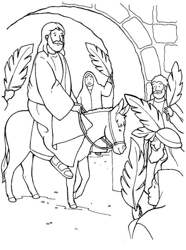 Jesus Through Jerusalem Gate In Palm Sunday Coloring Page Sunday School Coloring Pages Palm Sunday Crafts Easter Sunday School