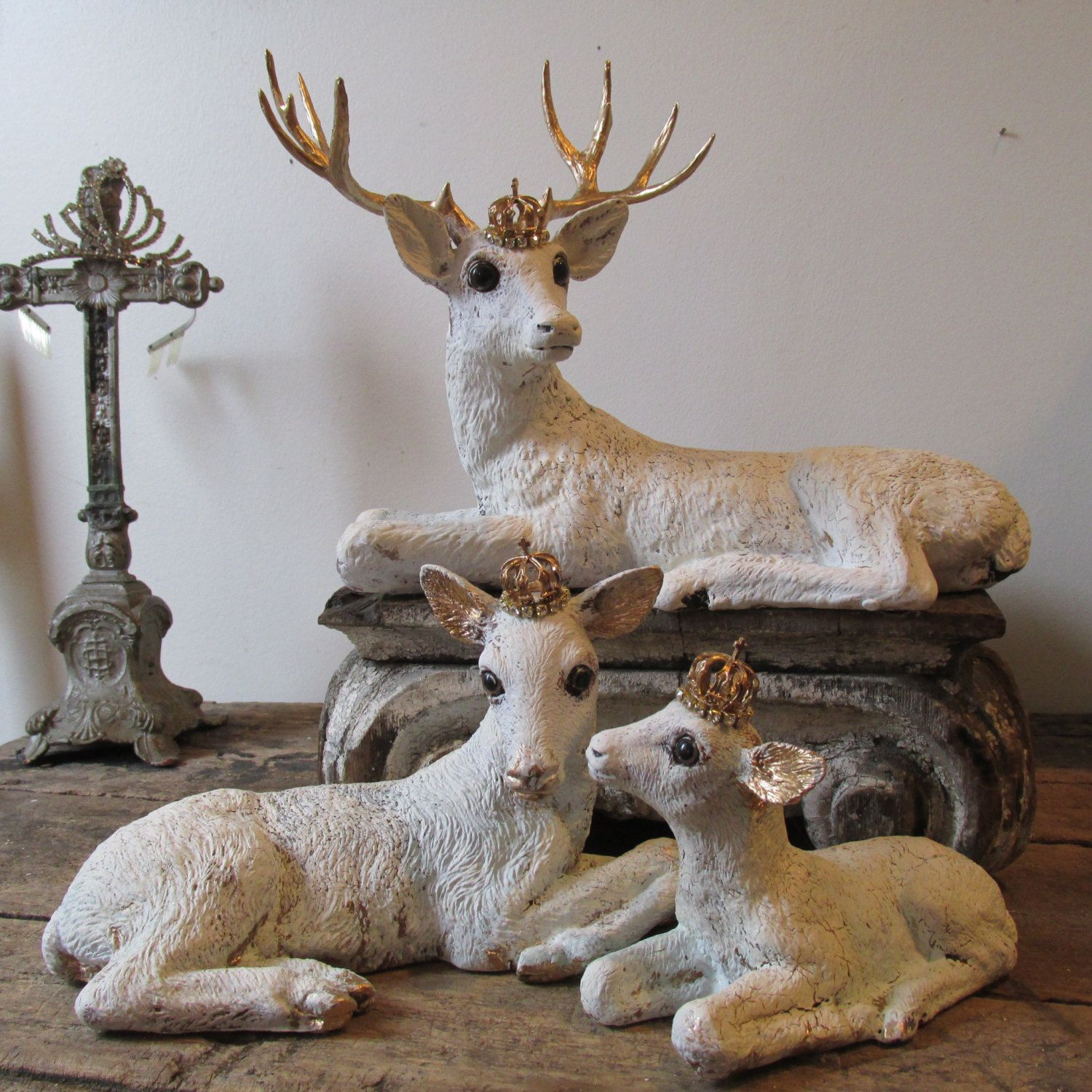 White deer statue set French Nordic painted by AnitaSperoDesign