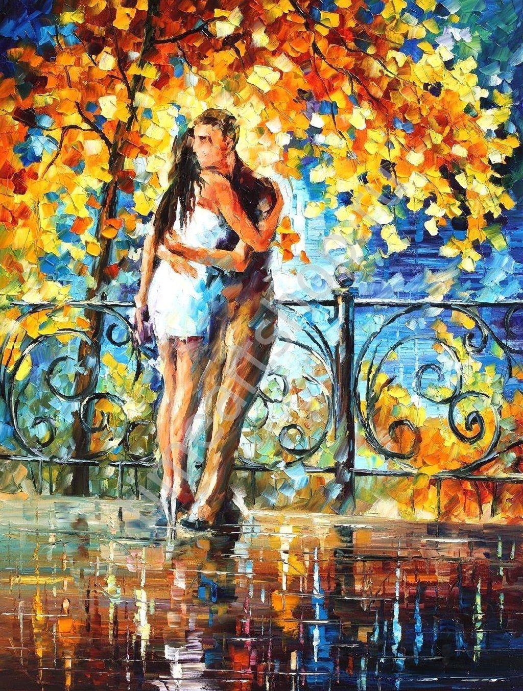 """Л. Афремов """"Влюблённые в осеннем сквере"""", картины ..."""