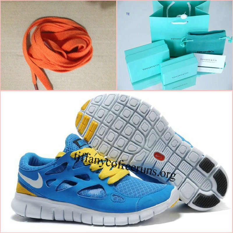 Womens Nike Free Run 2 Blue Yellow White Shoes half off